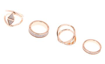 Go to Product: Rose Gold Glitter Geometric Rings - Silver, 4 Pack