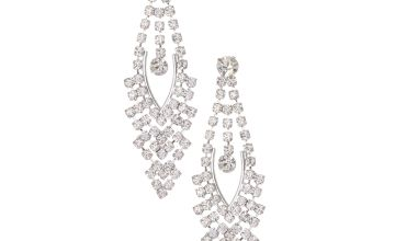 "Go to Product: Silver 2"" Rhinestone Chandelier Drop Earrings"