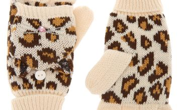 Go to Product: Leopard Fingerless Gloves With Mitten Flap - Brown