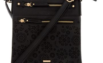 Go to Product: Filigree Cut Perforated Midi Crossbody Bag - Black