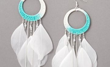 """Go to Product: Silver 5.5"""" Rafia Ombre Feather Drop Earrings - Blue"""