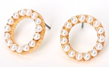 Go to Product: Gold Halo Pearl Stud Earrings - Ivory