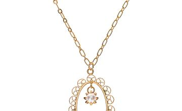 Go to Product: Gold Filigree Frame Long Pendant Necklace