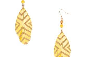"Go to Product: 4"" Feather Drop Earrings - Yellow"
