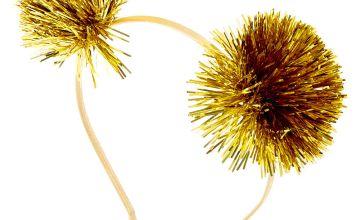 Go to Product: Tinsel Pom Pom Ears Headband - Gold