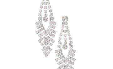 "Go to Product: Silver Rhinestone 2"" Vintage Chandelier Drop Earrings"