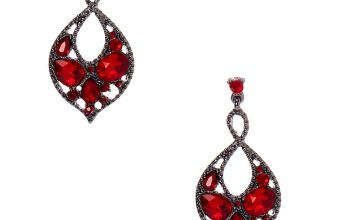 """Go to Product: Hematite 1.5"""" Crystal Drop Earrings - Red"""