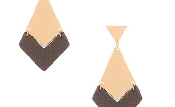 "Go to Product: Gold 1.5"" Geometric Drop Earrings - Grey"