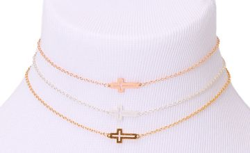 Go to Product: Mixed Metal Open Cross Choker Necklaces - 3 Pack