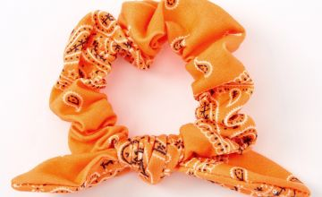 Go to Product: Small Bandana Knotted Bow Hair Scrunchie - Neon Orange