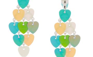 "Go to Product: 2"" Holographic Heart Chandelier Clip On Drop Earrings"