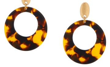 "Go to Product: 2"" Resin Tortoiseshell Drop Earrings - Brown"