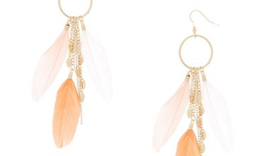 """Go to Product: Gold 4.5"""" Feather Drop Earrings - Coral"""