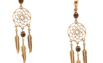 "Go to Product: Gold 3"" Beaded Dreamcatcher Clip On Drop Earrings - Brown"