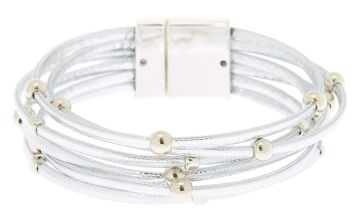 Go to Product: Stacked Cord Wrap Bracelet - Silver