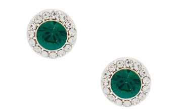Go to Product: Silver Crystal Stud Earrings - Emerald