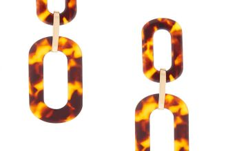 """Go to Product: Gold 3"""" Chain Link Resin Tortoiseshell Drop Earrings - Brown"""