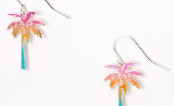 "Go to Product: Silver 1"" Anodized Rainbow Palm Tree Drop Earrings"