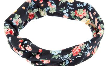 Go to Product: Wide Jersey Floral Headwrap - Black