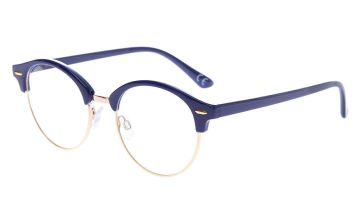 Go to Product: Gold Browline Clear Lens Frames - Navy
