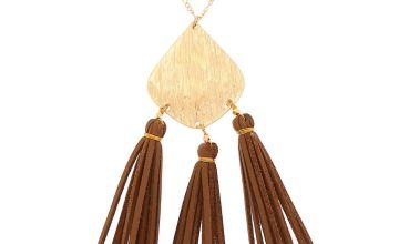 Go to Product: Gold Suede Tassel Long Pendant Necklace
