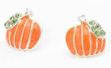 Go to Product: Silver Embellished Pumpkin Stud Earrings - Orange