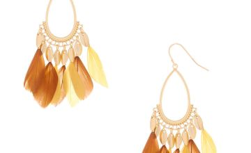 "Go to Product: Gold 2"" Feather Teardrop Drop Earrings - Yellow"