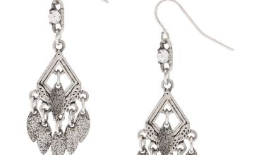 "Go to Product: Silver 1.5"" Diamond Dangle Drop Earrings"
