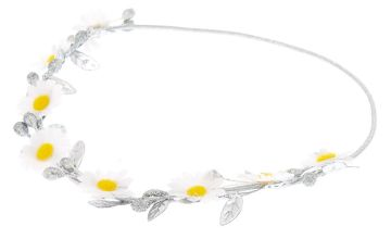 Go to Product: Metallic Daisy Flower Crown Headwrap - Silver