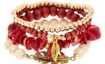 Go to Product: Desert Bead Stretch Bracelets - Red, 4 Pack