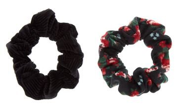 Go to Product: Black & Red Velvet Floral Hair Scrunchies - 2 Pack