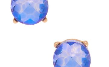 Go to Product: Gold 10MM Round Stone Stud Earrings - Purple