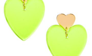 "Go to Product: Gold 2"" Neon Double Heart Drop Earrings - Yellow"