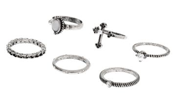 Go to Product: Silver Gothic Glam Rings - 6 Pack