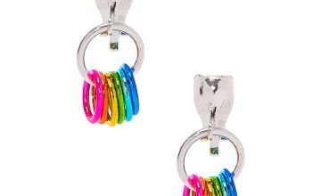 "Go to Product: 1"" Rainbow Rings Clip On Drop Earrings"