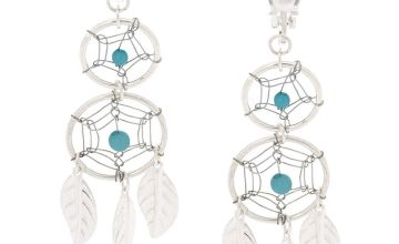 "Go to Product: Silver 2"" Double Dreamcatcher Clip On Drop Earrings - Turquoise"
