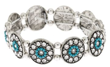 Go to Product: Silver Medallion Stretch Bracelet - Turquoise