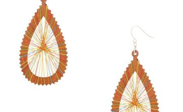 "Go to Product: Wood 3"" Rainbow Thread Teardrop Drop Earrings"