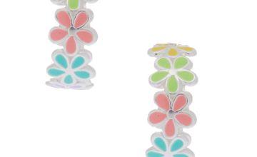 Go to Product: Sterling Silver Flower Hoop Earrings