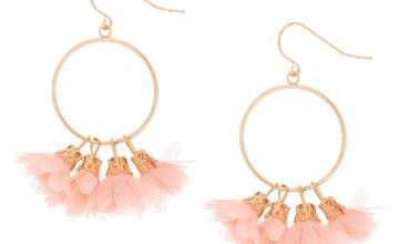 """Go to Product: Gold 1.5"""" Drop Earrings - Coral"""