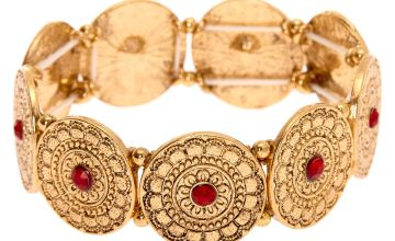 Go to Product: Gold Medallion Stretch Bracelet - Red