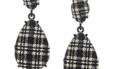 "Go to Product: 2"" Gingham Teardrop Drop Earrings - Black"