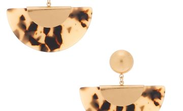 "Go to Product: Gold 2"" Tortoiseshell Crescent Drop Earrings"