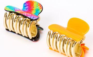 Go to Product: Rainbow Tie Dye Mini Hair Claws - Orange, 2 Pack