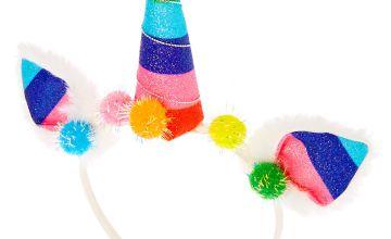 Go to Product: Rainbow Unicorn Pom Pom Headband - White