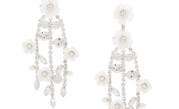 "Go to Product: Silver 2.5"" Rhinestone Flower Branch Drop Earrings"