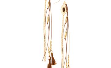Go to Product: Gold Cord Tassel Drop Earrings - Brown
