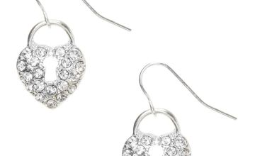 "Go to Product: Silver 1"" Crystal Lock Drop Earrings"