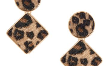 "Go to Product: Gold 2"" Geometric Fuzzy Leopard Drop Earrings"