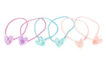 Go to Product: Claire's Club Glitter Heart Hair Ties - 6 Pack